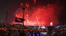 A general view as fireworks erupt during the Opening Ceremony of the PyeongChang 2018 Winter Olympic Games at PyeongChang Olympic Stadium on February 9, 2018 in Pyeongchang-gun, South Korea.  (Photo by Matthias Hangst/Getty Images)