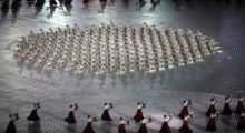 Dancers perform during the Opening Ceremony of the PyeongChang 2018 Winter Olympic Games at PyeongChang Olympic Stadium on February 9, 2018 in Pyeongchang-gun, South Korea.  (Photo by Sean M. Haffey/Getty Images)