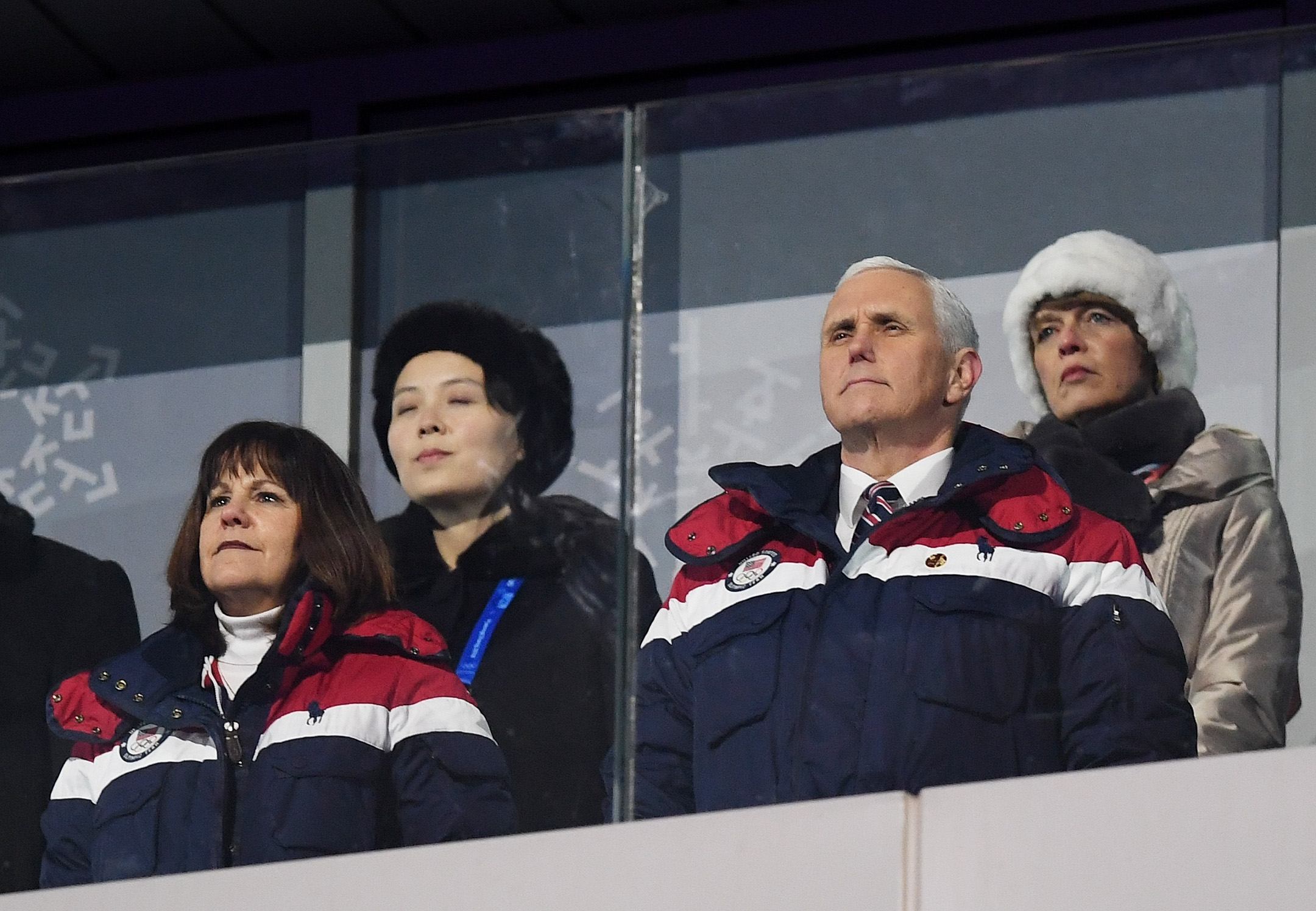 US Vice President Mike Pence (R) and North Korea's Kim Jong Uns sister Kim Yo Jong attend the opening ceremony of the Pyeongchang 2018 Winter Olympic Games at the Pyeongchang Stadium on February 9, 2018. (PHOTO / ODD ANDERSEN/AFP/Getty Images)