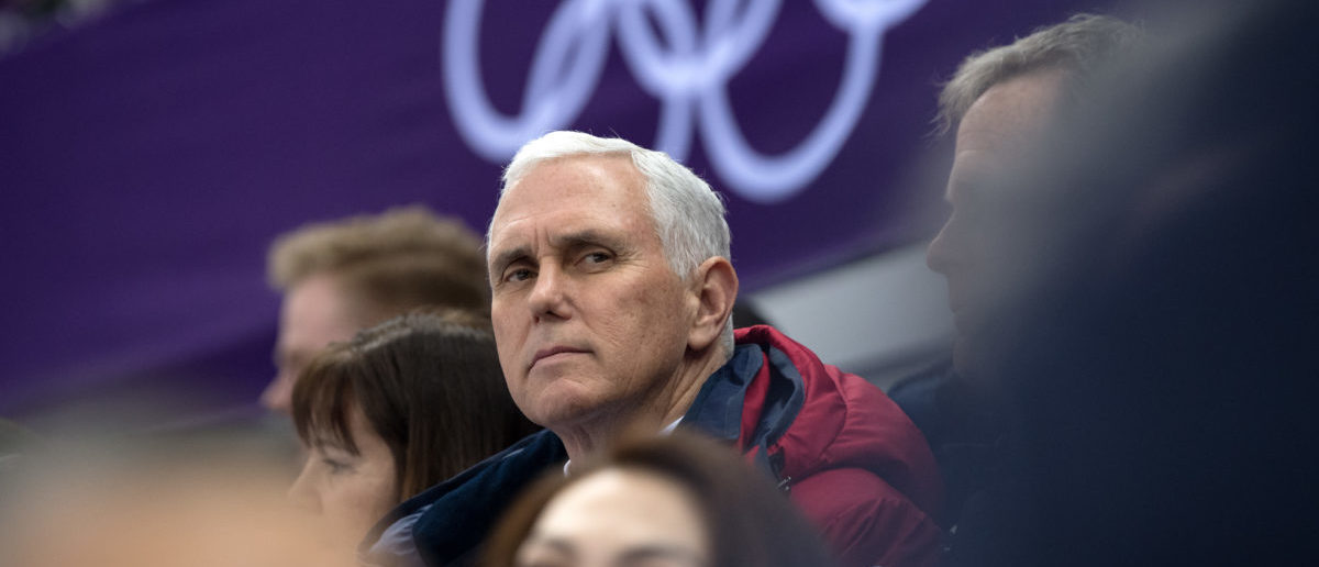 GANGNEUNG, SOUTH KOREA - FEBRUARY 10:  United States Vice President Mike Pence watches short track speed skating at Gangneung Ice Arena on February 10, 2018 in Gangneung, South Korea. (Photo by Carl Court/Getty Images)