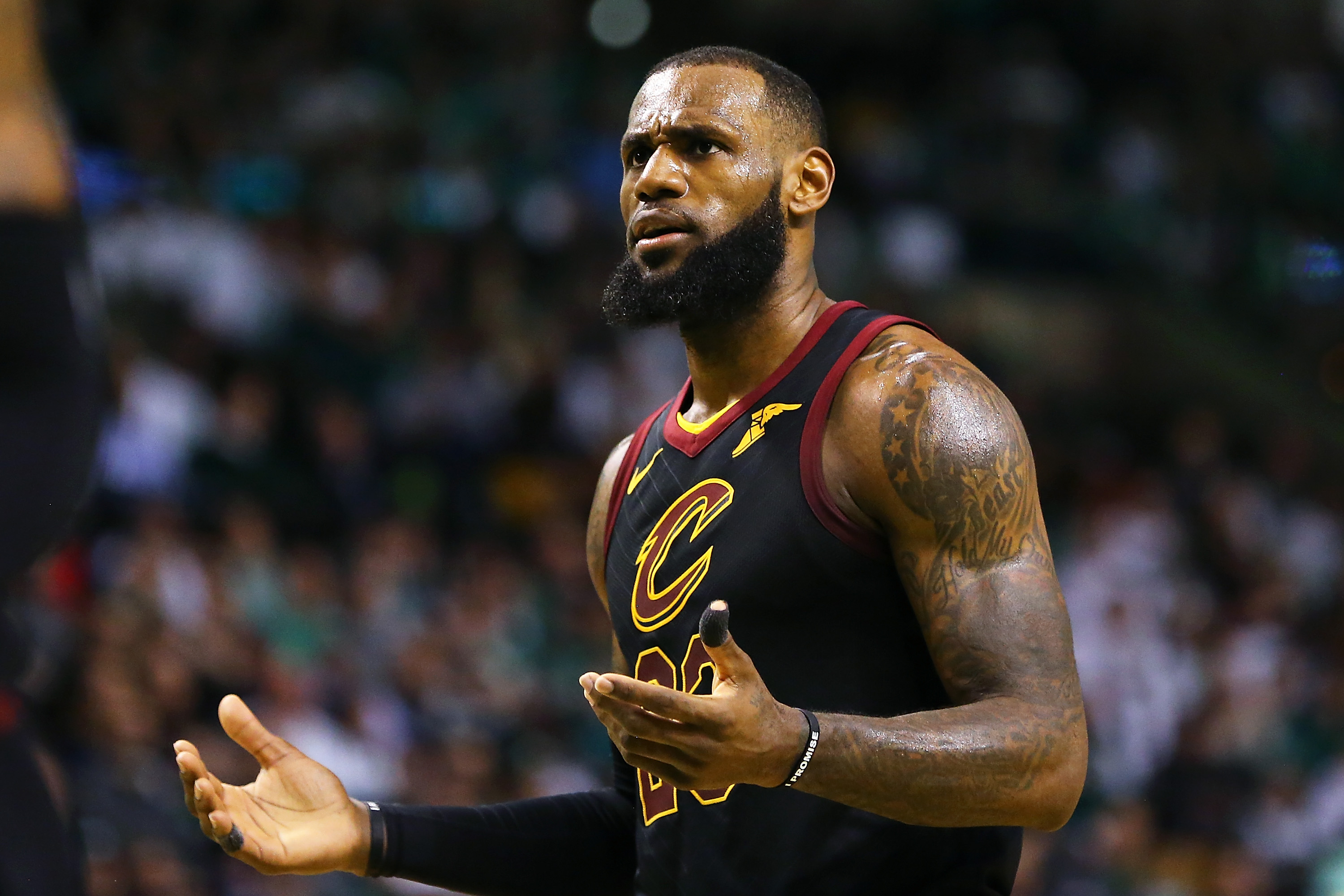 BOSTON, MA - FEBRUARY 11: Lebron James #23 of the Cleveland Cavaliers reacts in the second half during a game against the Boston Celtics at TD Garden on February 11, 2018 in Boston, Massachusetts. (Photo by Adam Glanzman/Getty Images)