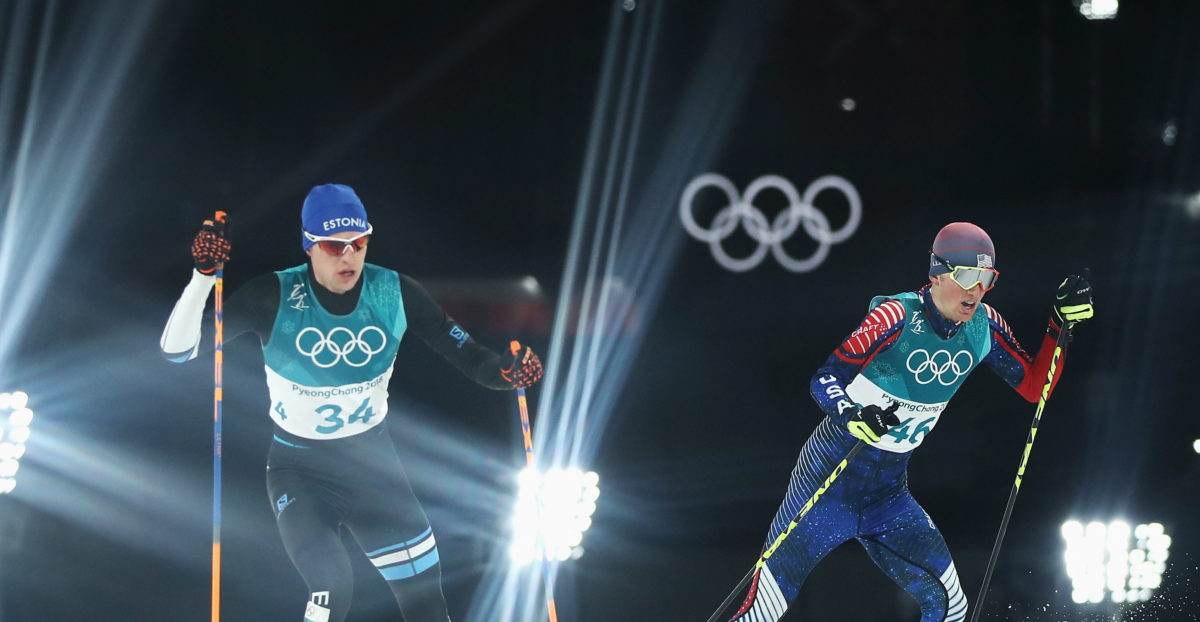 PYEONGCHANG-GUN, SOUTH KOREA - FEBRUARY 20: Jasper Good (R) of the United States and Karl-August Tiirmaa of Estonia compete during the Nordic Combined Individual Gundersen 10km Cross-Country on day eleven of the PyeongChang 2018 Winter Olympic Games at Alpensia Cross-Country Skiing Centre on February 20, 2018 in Pyeongchang-gun, South Korea. (Photo by Clive Mason/Getty Images)