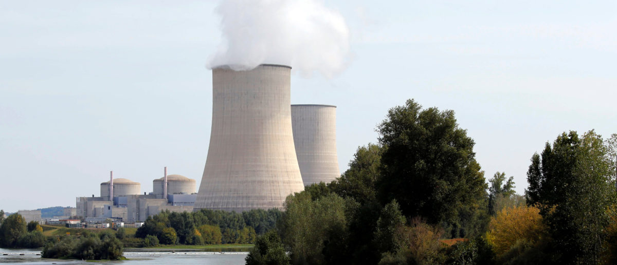 View of the cooling towers at the Golfech nuclear plant on the edge of the Garonne river between Agen and Toulouse