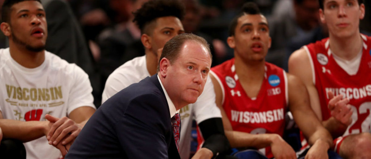NEW YORK, NY - MARCH 24: Head coach Greg Gard of the Wisconsin Badgers looks on against the Florida Gators during the 2017 NCAA Men's Basketball Tournament East Regional at Madison Square Garden on March 24, 2017 in New York City. (Photo by Elsa/Getty Images)