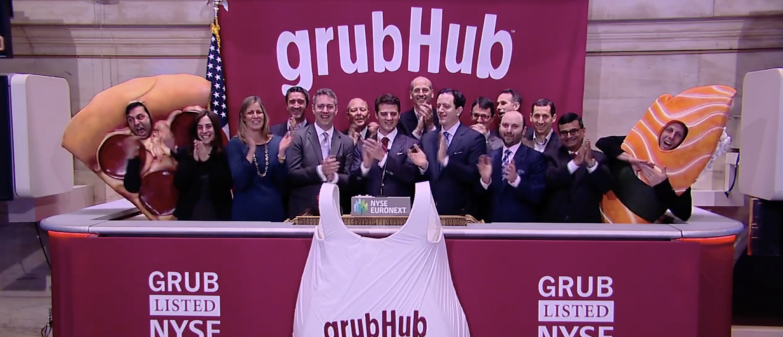 Grubhub executives at the New York Stock Exchange in 2014. (Screenshot/NYSE)