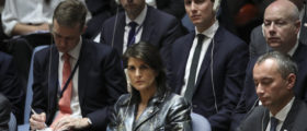 U.S. ambassador to the United Nations Nikki Haley and White House Senior Advisor Jared Kushner, behind her, attend a United Nations Security Council concerning meeting concerning issues in the Middle East, at UN headquarters, February 20, 2018 in New York City. Mahmoud Abbas, the president of the Palestinian National Authority called for an international Middle East peace conference to be convened later this year. (Photo by Drew Angerer/Getty Images)