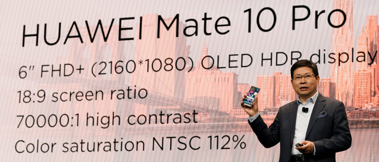 Richard Yu, CEO of the Huawei Consumer Business Group, holding a Huawei Mate 10 Pro cellphone, speaks at the Huawei keynote at CES in Las Vegas, Nevada, U.S. January 9, 2018. REUTERS/Rick Wilking