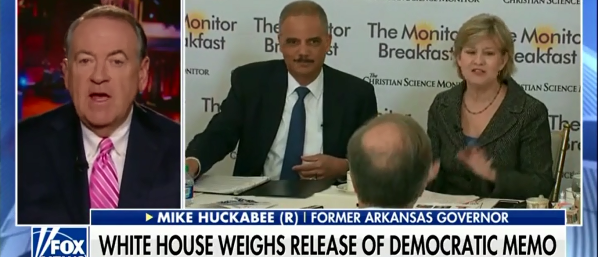 Huckabee calls out 'dishonest' Eric holder on America's Newsroom - 2-8-18 (Screenshot/Fox News)