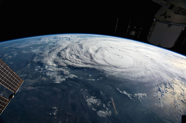 Hurricane Harvey is pictured off the coast of Texas from aboard the International Space Station in this August 25, 2017 NASA Handout Photo