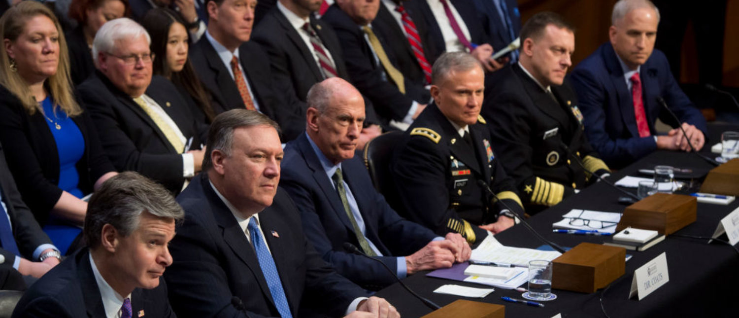 FBI Director Christopher Wray (L), CIA Director Mike Pompeo (2nd L), Director of National Intelligence Dan Coats (3rd L), Defense Intelligence Agency Director Robert Ashley (3rd R), National Security Agency Director Michael Rogers (2nd R) and National Geospatial Intelligence Agency Director Robert Cardillo (R) testify on worldwide threats during a Senate Intelligence Committee hearing on Capitol Hill in Washington, DC, February 13, 2018. (Photo: SAUL LOEB/AFP/Getty Images)