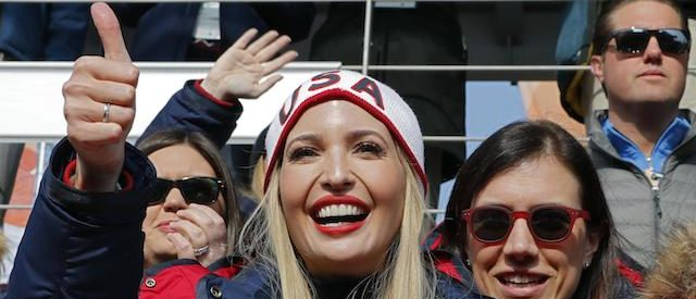 President Donald Trump's daughter and senior White House adviser Ivanka Trump watches the men's four-man bobsleigh event of the Pyeongchang Winter Olympic games at the Olympic Sliding Centre in Pyeongchang on February 25, 2018. (Photo: ERIC GAILLARD/AFP/Getty Images)