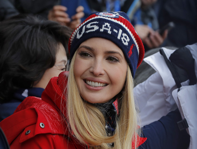 Snowboarding - Pyeongchang 2018 Winter Olympics - Men's Big Air Finals - Alpensia Ski Jumping Centre - Pyeongchang, South Korea - February 24, 2018 - U.S. President Donald Trump's daughter and senior White House adviser, Ivanka Trump sits in the stands. REUTERS/Eric Gaillard - DEVEE2O05I7ZW