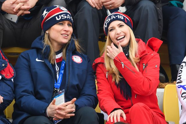 Ivanka Trump (R)and US IOC member Angela Ruggiero (L) watch the final of the men's snowboard big air event at the Alpensia Ski Jumping Centre during the Pyeongchang 2018 Winter Olympic Games on February 24, 2018 in Pyeongchang. / AFP PHOTO / FRANCK FIFE (Photo credit should read FRANCK FIFE/AFP/Getty Images)