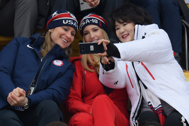 PYEONGCHANG-GUN, SOUTH KOREA - FEBRUARY 24: (L-R) IOC executive board member Angela Ruggiero, Ivanka Trump and South Korean first lady Kim Jung-sook attend the Snowboard - Men's Big Air Final on February 24, 2018 in Pyeongchang-gun, South Korea. Ivanka Trump is on a four-day visit to South Korea to attend the closing ceremony of the PyeongChang Winter Olympics. (Photo by Carl Court/Getty Images)