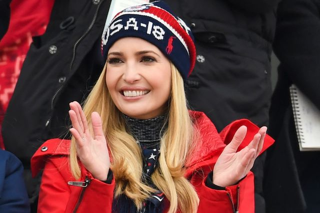 Ivanka Trump reacts during the final of the men's snowboard big air event at the Alpensia Ski Jumping Centre during the Pyeongchang 2018 Winter Olympic Games on February 24, 2018 in Pyeongchang. / AFP PHOTO / FRANCK FIFE (Photo credit should read FRANCK FIFE/AFP/Getty Images)