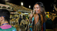 """The American beauty looked like she was having the time of her life as she watched the world famous display of the samba schools at Rio de Janeiro's Sambadrome from a prime viewing spot, the exclusive """"No.1"""" box. She was earlier seen on the floor with her  model friends. Pictured: Jasmine Tookes (Picture by: Leo Marinho / Splash News)"""