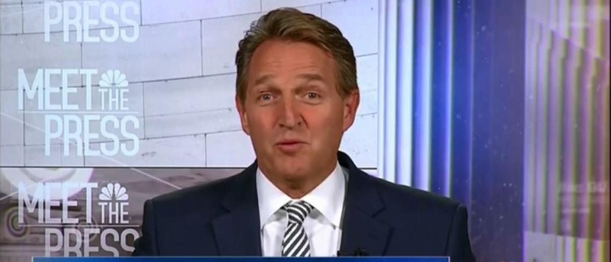 Jeff Flake Says Trump Framework On immigration has been 'helpful' On Meet the Press 2-11-18 (Screenshot/NBC)