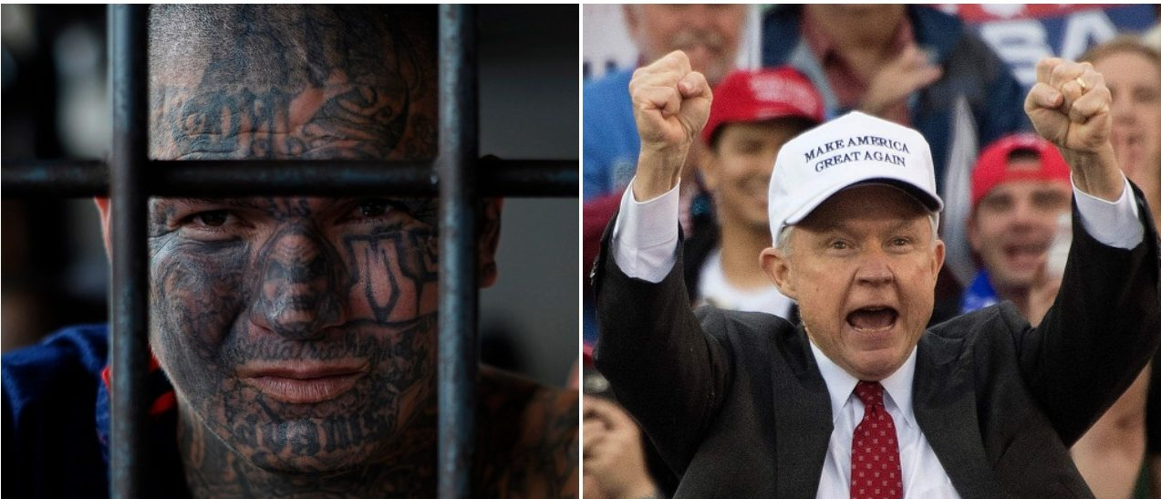 Jeff Sessions MS-13 Left: JIM WATSON/AFP/Getty Images) Right: Jose CABEZAS/AFP/GettyImages