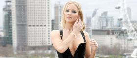 Jennifer Lawrence Shows How Low She Can Go In Black Sleeveless Dress In London [PHOTOS]