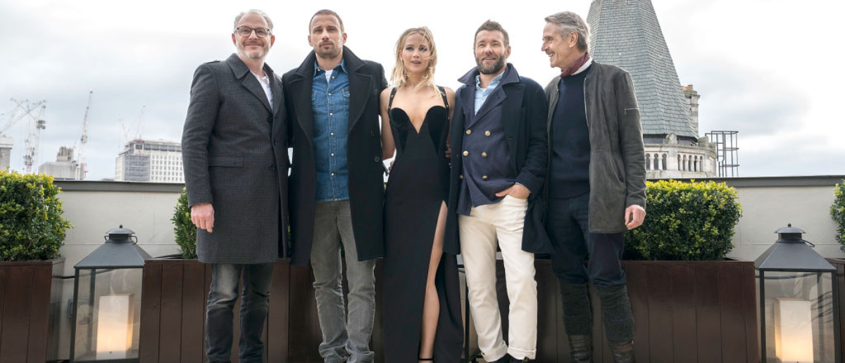 LONDON, ENGLAND - FEBRUARY 20: (L-R) Francis Lawrence, Matthias Schoenaerts, Jennifer Lawrence, Joel Edgerton and Jeremy Irons during the 'Red Sparrow' photocall at The Corinthia Hotel on February 20, 2018 in London, England. (Photo by John Phillips/John Phillips/Getty Images)