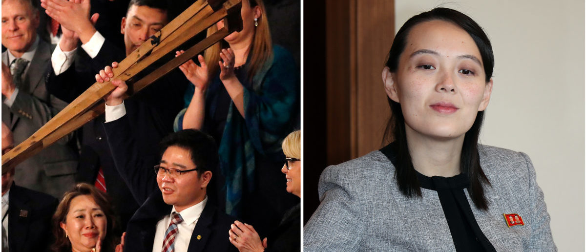Left: Ji Seong Ho at the State of the Union. Right: Kim Yo Jong in South Korea for the Olympics (Left photo: REUTERS/Leah Millis. Right photo: Yonhap via REUTERS)