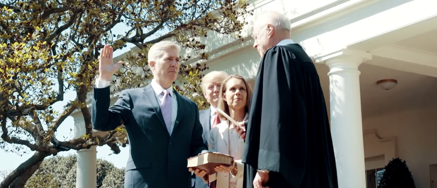 Justice Neil Gorsuch takes the oath of office in April 2017. (YouTube screenshot/The White House)