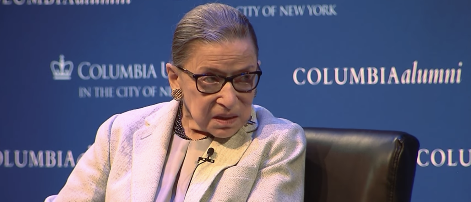 Justice Ruth Bader Ginsburg speaks in New York City in Feb. 2018. (YouTube screenshot/CNN)