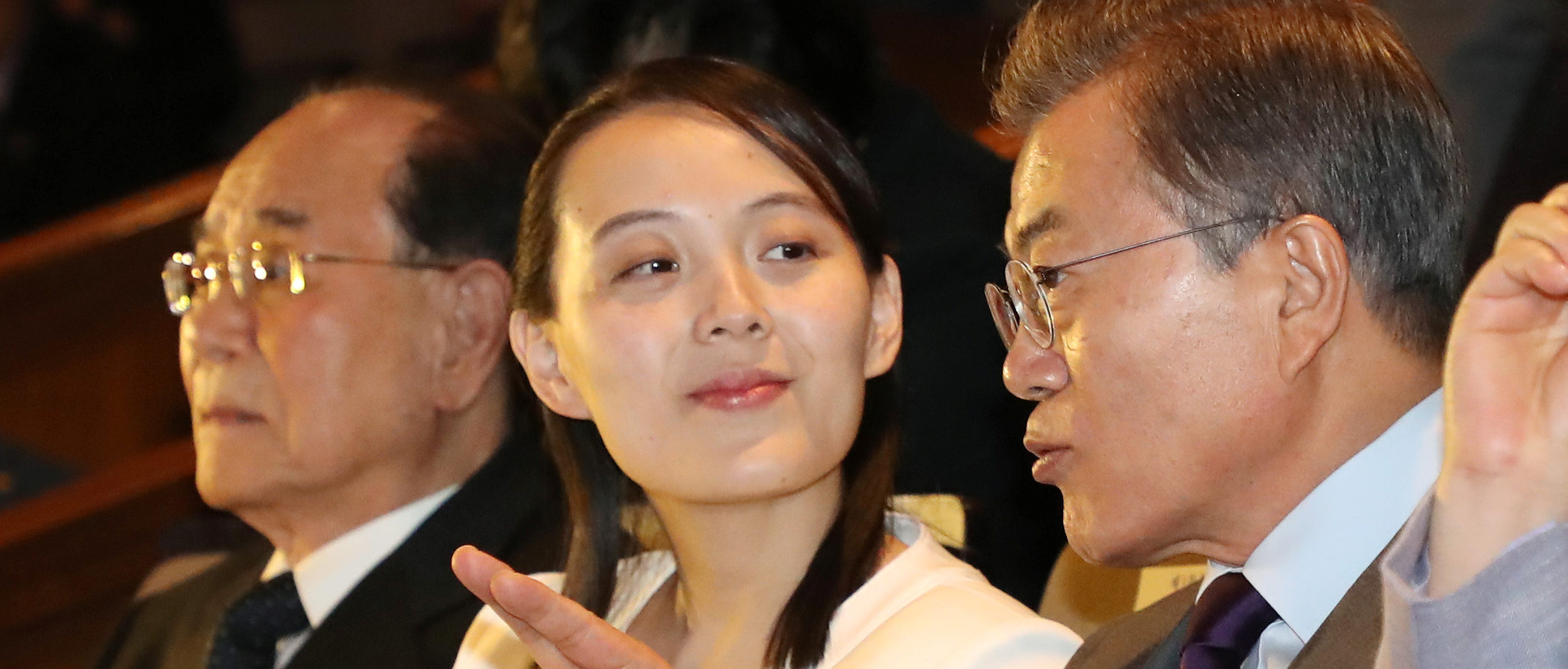 South Korean President Moon Jae-in talks with Kim Yo Jong, the sister of North Korea's leader Kim Jong Un, while watching North Korea's Samjiyon Orchestra's performance in Seoul, South Korea, February 11, 2018. Yonhap via REUTERS ATTENTION EDITORS - THIS IMAGE HAS BEEN SUPPLIED BY A THIRD PARTY. SOUTH KOREA OUT. NO COMMERCIAL OR EDITORIAL SALES IN SOUTH KOREA. NO RESALES. NO ARCHIVE. - RC130210B300