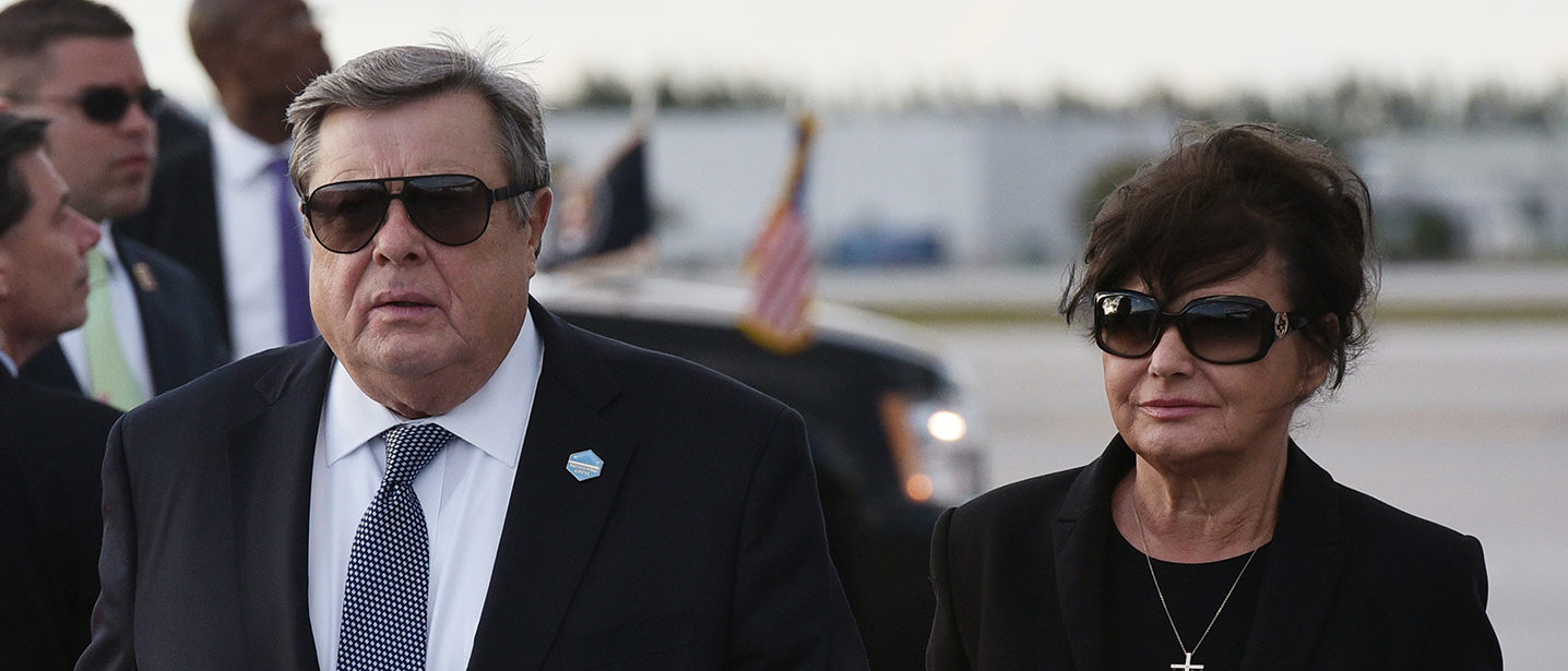 Viktor and Amalija Knavs, the parents of US First Lady Melania Trump, make their way to a vehicle upon arrival at Palm Beach International Airport in West Palm Beach, Florida on March 17, 2017. They travelled on Air Force One with their daughter and US President Donald Trump. MANDEL NGAN/AFP/Getty Images