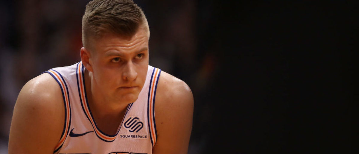 PHOENIX, AZ - JANUARY 26:  Kristaps Porzingis #6 of the New York Knicks awaits a free-throw shot during the first half of the NBA game against the Phoenix Suns at Talking Stick Resort Arena on January 26, 2018 in Phoenix, Arizona.  (Photo by Christian Petersen/Getty Images)