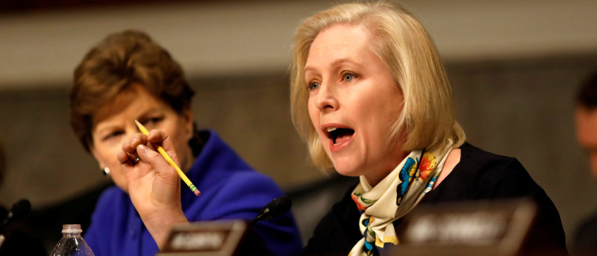 Senator Kristen Gillibrand (D-NY) asks a question during a Senate Armed Services Committee hearing on the Marines United Facebook page on Capitol Hill in Washington, D.C., U.S. March 14, 2017. REUTERS/Aaron P. Bernstein