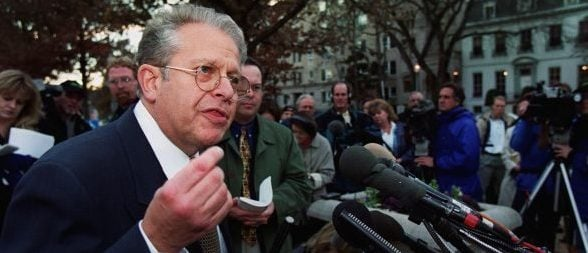 WASHINGTON, : Laurence Tribe, attorney for Democraticc presidential candidate, Al Gore speaks to reporters outside of the US Supreme Court Building in Washington, DC 28 November, 2000 after filing legal briefs on behalf of Gore. The Supreme Court is scheduled to hear Texas Governor George W. Bush's appeal 01 December seeking to bar Florida's hand-counted ballots from being added to the final total. (FILM) AFP PHOTO/ Manny CENETA (Photo credit should read MANNY CENETA/AFP/Getty Images)