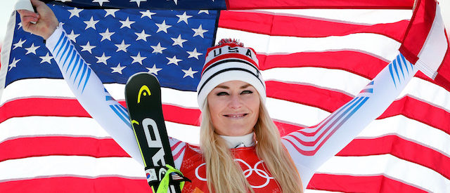 PYEONGCHANG-GUN, SOUTH KOREA - FEBRUARY 21:  Bronze medallist Lindsey Vonn of the United States celebrates during the victory ceremony for the Ladies' Downhill on day 12 of the PyeongChang 2018 Winter Olympic Games at Jeongseon Alpine Centre on February 21, 2018 in Pyeongchang-gun, South Korea.  (Photo by Tom Pennington/Getty Images)