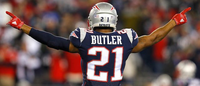 FOXBOROUGH, MA - JANUARY 21: Malcolm Butler #21 of the New England Patriots reacts in the fourth quarter during the AFC Championship Game against the Jacksonville Jaguars at Gillette Stadium on January 21, 2018 in Foxborough, Massachusetts.  (Photo by Kevin C. Cox/Getty Images)