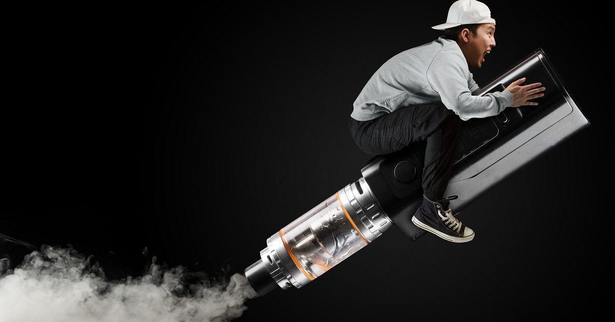 The guy flies on the vape on a black background. (Li-Fu Viktor/Shutterstock)