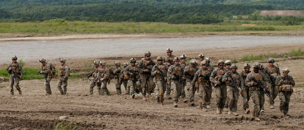 U.S. Marine Corps' members take part in a joint exercise, named Northern Viper 17, with Japan's Ground Self Defense Force at Hokudaien exercise area in Eniwa, on the northern island of Hokkaido, Japan, August 16, 2017. REUTERS/Toru Hanai