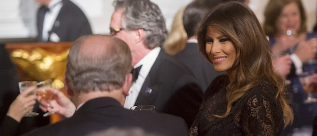 US First Lady Melania Trump attends the GovernorsÕ Ball for US governors attending the National Governors Association (NGA) winter meeting in the State Dining Room of the White House in Washington, DC, February 25, 2018. / AFP PHOTO / SAUL LOEB (Photo credit should read SAUL LOEB/AFP/Getty Images)