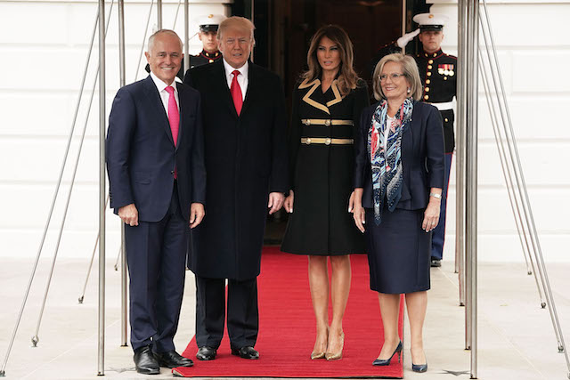 WASHINGTON, DC - FEBRUARY 23: U.S. President Donald Trump (2nd L) and first lady Melania Trump (3rd L) welcome Australian Prime Minister Malcolm Turnbull (L) and his wife Lucy Turnbull (R) during an arrival at the South Lawn of the White House February 23, 2018 in Washington, DC. Prime Minister Turnbull is on a visit in Washington. (Photo by Alex Wong/Getty Images)