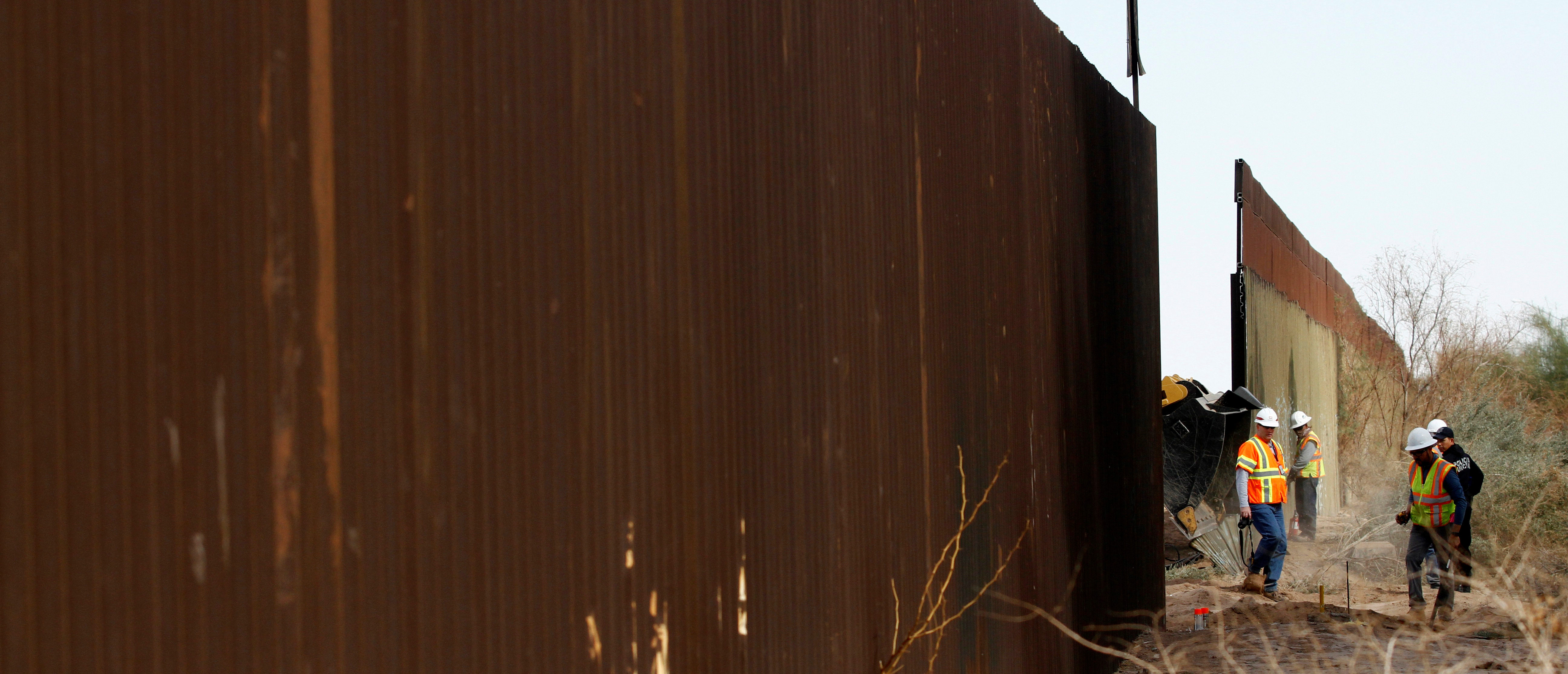U.S. Customs and Border Protection replace a 2.25-mile section of US-Mexico border with new wall construction near Calexico, California, U.S, as seen from Mexicali