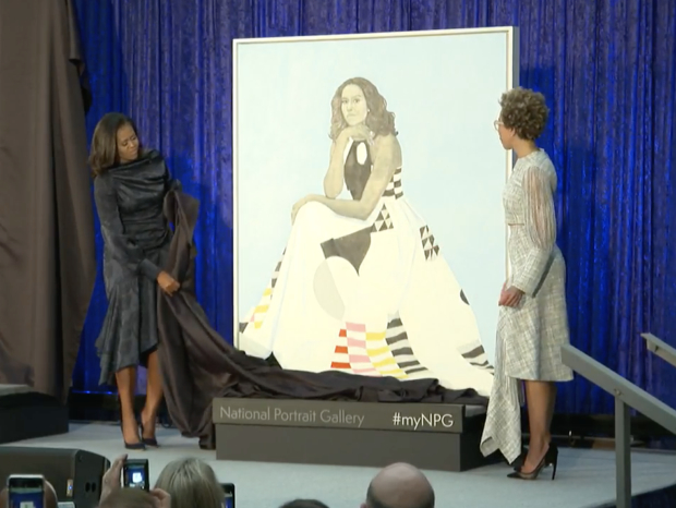 Michelle Obama at portrait unveiling. (Photo: Screenshot/MSNBC)