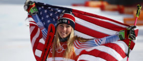 Gold medalist Mikaela Shiffrin of the United States celebrates after the Ladies' Giant Slalom on day six of the PyeongChang 2018 Winter Olympic Games at Yongpyong Alpine Centre on February 15, 2018 in Pyeongchang-gun, South Korea. (Photo by Ezra Shaw/Getty Images)