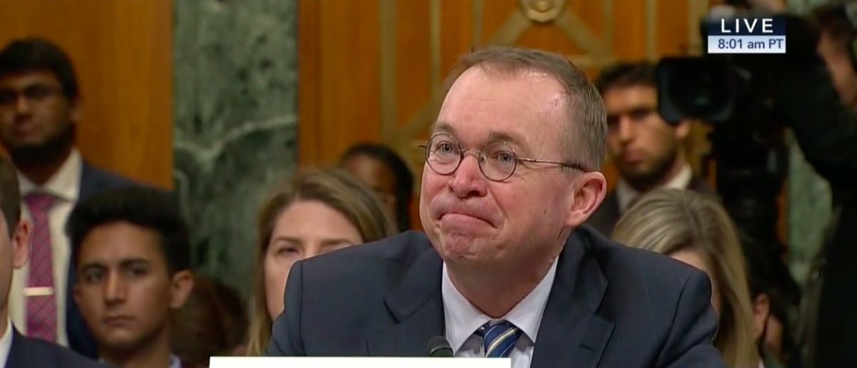 Screen Shot OMB Director Mick Mulvaney Testifies During Senate Budget Hearing (CSPAN: Feb 13, 2018)