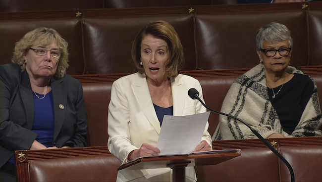 House Minority Leader Nancy Pelosi is shown speaking on the floor of the House of Representatives in this still grab taken from video on Capitol Hill in Washington, February 7, 2018. U.S. House TV/Handout via Reuters
