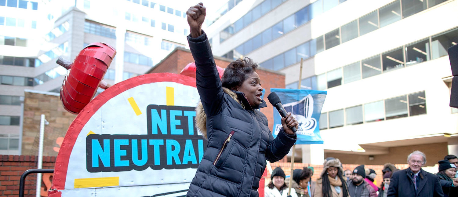 WASHINGTON, DC - DECEMBER 14: Federal Communication Commission Commissioner Mignon Clyburn addresses protesters outside the Federal Communication Commission building to rally against the end of net neutrality rules December 14, 2017 in Washington, DC. Lead by FCC Chairman Ajit Pai, the commission is expected to do away with Obama Administration rules that prevented internet service providers from creating differnt levels of service and blocking or promoting individual companies and organizations on their systems. (Photo by Chip Somodevilla/Getty Images)
