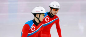 North Korea's short track speed skaters Choe Un Song and Jong Kwang Bom take part in a training session at the Gangneung Ice Arena in Gangneung, South Korea February 2, 2018. REUTERS/Kim Hong-Ji