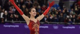 TOPSHOT - Russia's Alina Zagitova reacts after before the venue ceremony after the women's single skating free skating of the figure skating event during the Pyeongchang 2018 Winter Olympic Games at the Gangneung Ice Arena in Gangneung on February 23, 2018. / AFP PHOTO / ARIS MESSINIS (Photo credit should read ARIS MESSINIS/AFP/Getty Images)