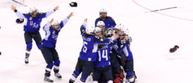 GANGNEUNG, SOUTH KOREA - FEBRUARY 22: The United States celebrates after defeating Canada in a shootout to win the Women's Gold Medal Game on day thirteen of the PyeongChang 2018 Winter Olympic Games at Gangneung Hockey Centre on February 22, 2018 in Gangneung, South Korea. (Photo by Harry How/Getty Images)