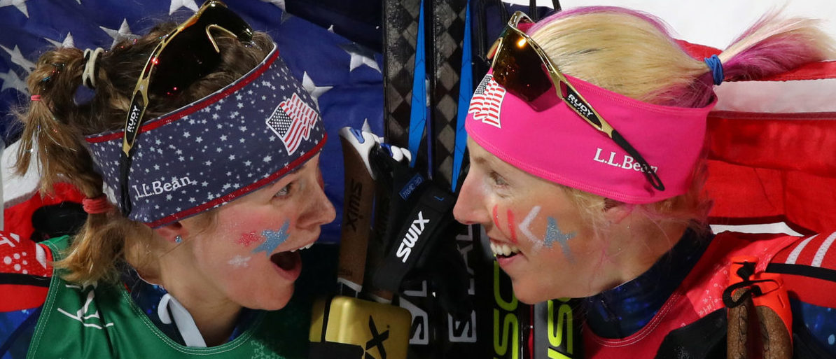 Cross-Country Skiing - Pyeongchang 2018 Winter Olympics - Women's Team Sprint Free Finals - Alpensia Cross-Country Skiing Centre - Pyeongchang, South Korea - February 21, 2018 - Jessica Diggins and Kikkan Randall of the U.S. celebrate. REUTERS/Carlos Barria