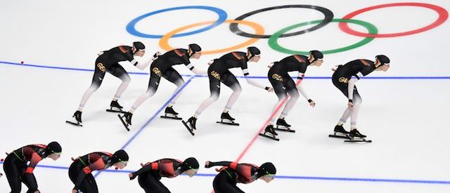 This multiple exposure photo shows Germany's Roxanne Dufter (top) and Canada's Kali Christ competing in the women's 1,500m speed skating event during the Pyeongchang 2018 Winter Olympic Games at the Gangneung Oval in Gangneung on February 12, 2018. / AFP PHOTO / Roberto SCHMIDT        (Photo credit should read ROBERTO SCHMIDT/AFP/Getty Images)