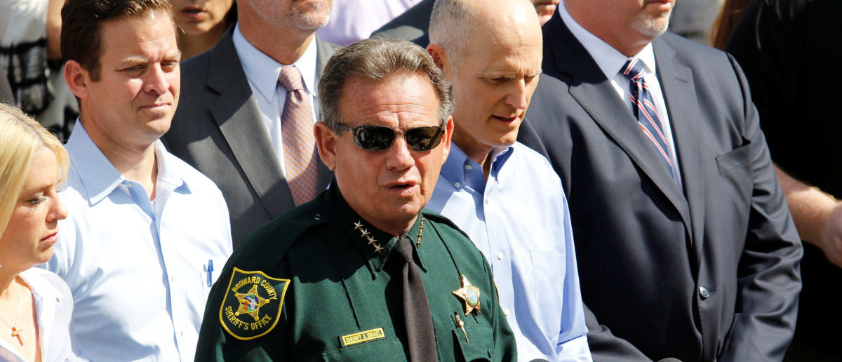 Sheriff Scott Israel addresses the news media outside Marjory Stoneman Douglas High School following a school shooting in Parkland, Florida, U.S., February 15, 2018. REUTERS/Thom Baur